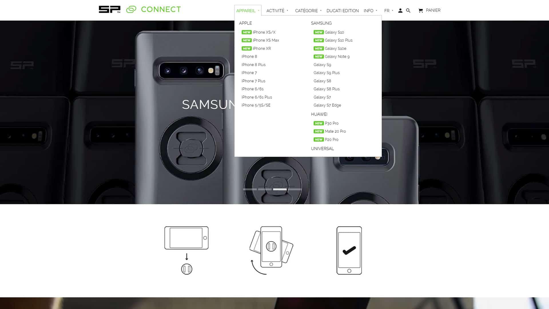 SP Connect Bike Bundle Galaxy S10e Coque pour t/él/éphone Mixte Noir